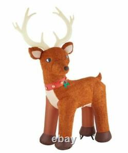 10.5 Ft COLOSSAL FUZZY STANDING REINDEER Airblown Yard Inflatable PLUSH FUR
