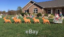 10 Deer Set Reindeer Team Santa's Best Sleigh Christmas Blowmold