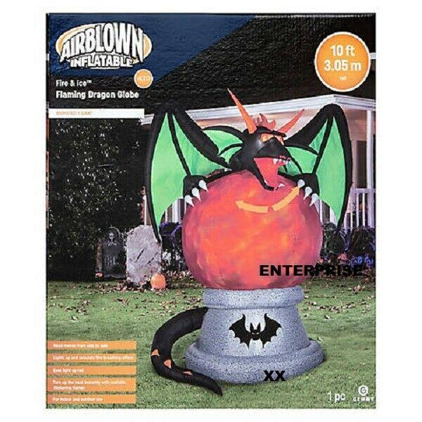 10' Ft Halloween Dragon On Fire & Ice Globe Airblown Inflatable Lightshow Yard