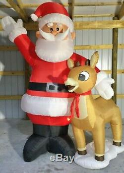 10ft Gemmy Airblown Inflatable Prototype Christmas Rudolph and Santa #36419