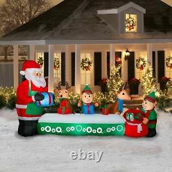 11.5 Ft ANIMATED SANTA'S TOY FACTORY Airblown Lighted Yard Inflatable NEW