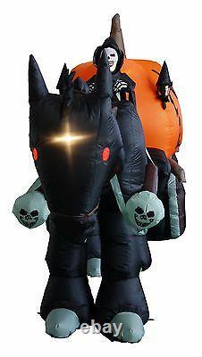 11 FT Halloween Inflatable Blow up Decoration Grim Reaper Pumpkin Carriage Horse