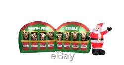 11 ft Pre-lit LED Inflatable Santa in Stable with 8 Reindeers Christmas Airblown