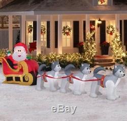 12.5 ft long GEMMY Christmas Inflatable Santa and Dogsled Scene, nib