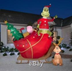 12' COLOSSAL GRINCH AND MAX ON SLEIGH Christmas Airblown Inflatable PRE-ORDER