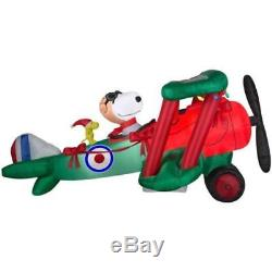 12' Christmas SNOOPY AIRPLANE Lighted Airblown Inflatable Propeller Spins