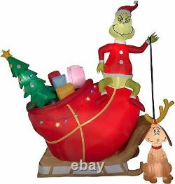 12'FT CHRISTMAS GRINCH With MAX ON SANTA SLEIGH AIRBLOWN INFLATABLE YARD DECOR