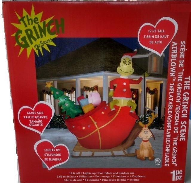 12 Ft Grinch And Max In Sleigh Airblown Lighted Yard Inflatable