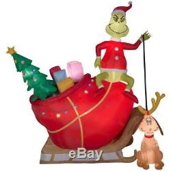 12 FT GRINCH AND MAX IN SLEIGH Airblown Lighted Yard Inflatable New