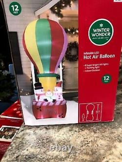 12 FT Merry Christmas Lighted Snowman Family Hot Air Balloon Airblown Inflatable