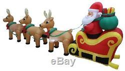 12 Foot Christmas Inflatable Santa Claus Reindeer Sleigh Outdoor Yard Decoration