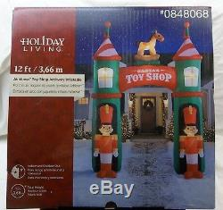 12 Foot Santa's Toy Shop Archway Inflatable Gemmy Everything Included Lights Up