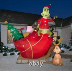 12 Ft COLOSSAL GRINCH AND MAX ON SLEIGH Airblown Lighted Yard Inflatable