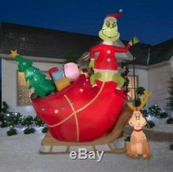 12 Ft GRINCH AND MAX ON SLEIGH Christmas Airblown Lighted Yard Inflatable
