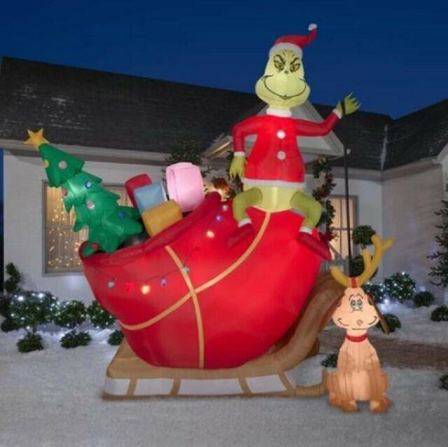 12' Giant Grinch & Max On Sleigh Christmas Lighted Airblown Yard Inflatable