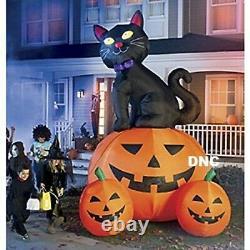 12FT HUGE Halloween Black Cat Pumpkins Lighted Airblown Inflatable Yard