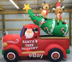 12ft Gemmy Airblown Inflatable Prototype Christmas Santa's Tree Delivery #17277