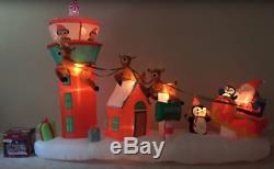 13.5 FT NORTH POLE AIR TRAFFIC CONTROL Airblown Lighted Yard Inflatable SANTA