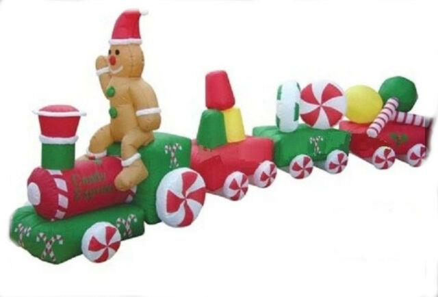 14.5 Ft Candy Express Train Airblown Lighted Yard Inflatable Gingerbread Man
