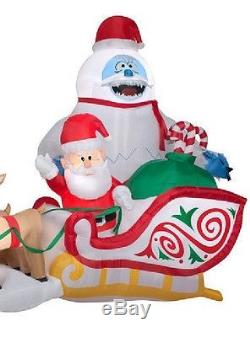 16.5' Rudolph Reindeer Santa Claus Sleigh Bumble Airblown Inflatable Yard Decor
