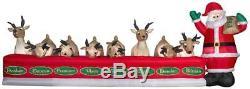 16.5' Wide Christmas Animated Inflatable Santa Feeding 8 Reindeer Holiday Decor