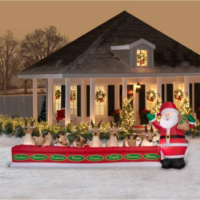 16 Ft Santa Feeding Eight Reindeers Airblown Lighted Yard Inflatable
