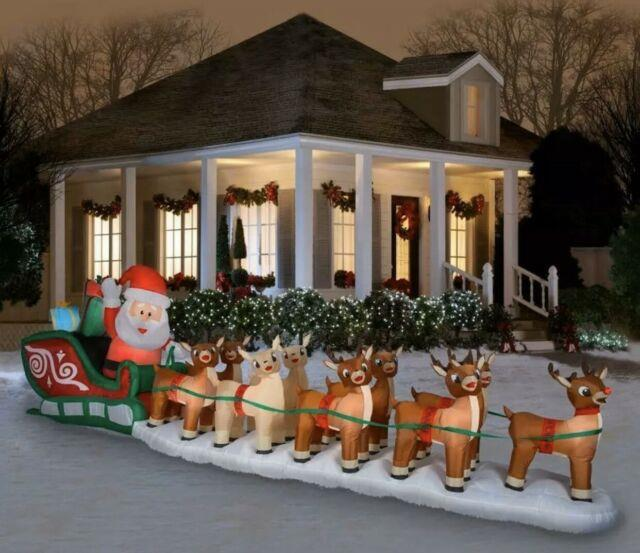 17.5 Ft Colossal Lighted Santa & Rudolph Sleigh Airblown Inflatable Yard 2018