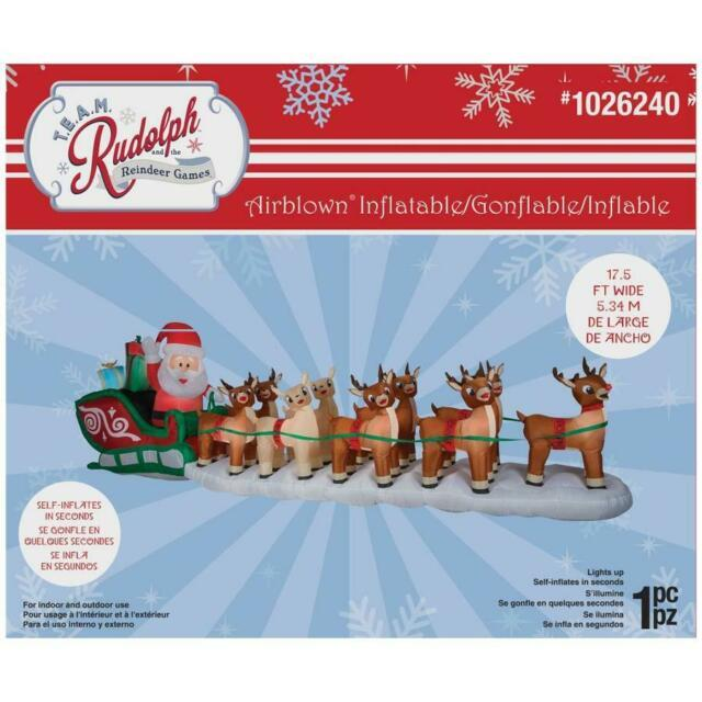 17.5 Ft Colossal Rudolph Sleigh Airblown Lighted Christmas Inflatable