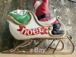 1960s-70s Empire Mold Giant Santa Claus Sleigh Reindeer Noel Christmas Blow Mold