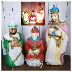 1982 VTG Christmas Blow Mold Plastic Nativity Wise Men-Set Of 3 Carolina Ent