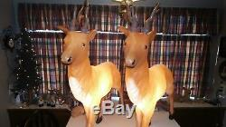 2 Blow Mold Reindeer Santas Best Outdoors Indoors Light Up 41 in. Tall by 36
