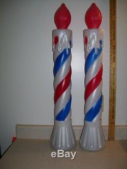 2 Lighted Red / White & Blue 36 Holiday Candle, Patriot Union Prod. Blow Molds