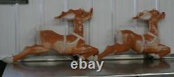 2 Vintage Empire Christmas Santa Sleigh Reindeer Blow Mold Decor Yard Decor E
