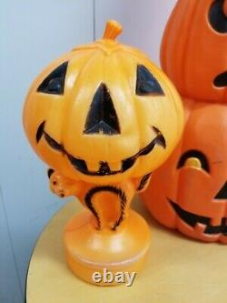 2 Vintage Halloween Blow Mold Don Featherstone Stacked Pumpkins Jack-O-Lantern