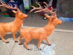 2 Vtg Blow Mold Christmas Deer Reindeer XL 42 Inch Very Rare