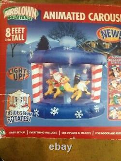 2005 GEMMY AIRBLOWN INFLATABLE CHRISTMAS ANIMATED SPIN CAROUSEL 8FT Rare Color