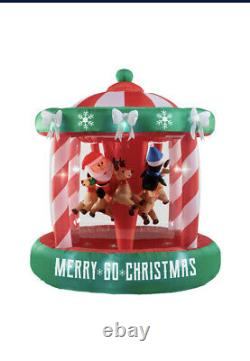2020 GEMMY AIRBLOWN INFLATABLE MERRY CHRISTMAS ANIMATED SPINNING CAROUSEL 7ft