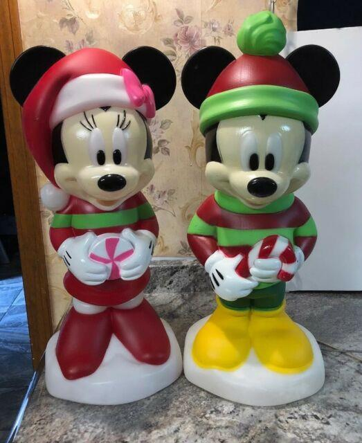 21 Light Blow Mold Minnie Mickey Mouse Christmas Yard Gemmy Candy Cane Greeters