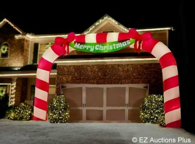 23 Feet Wide X 15 Feet Tall Lighted Candy Cane Archway Airblown Inflatable Yard