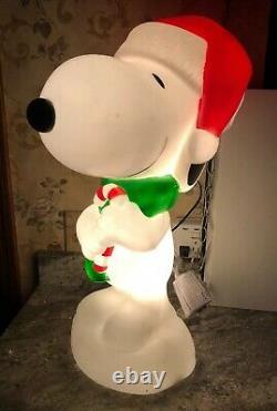 24 Snoopy Christmas Gemmy Blow Mold Santa Hat Candy Cane Yard Decor Greeter New