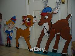 24-pc. SET HAND MADE, & PAINTED RUDOLPH CHRISTMAS YARD ART DECORATION