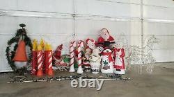 27 Vtg Christmas Blowmold & Wire Yard Lights Santa Snowman Municipal Bell