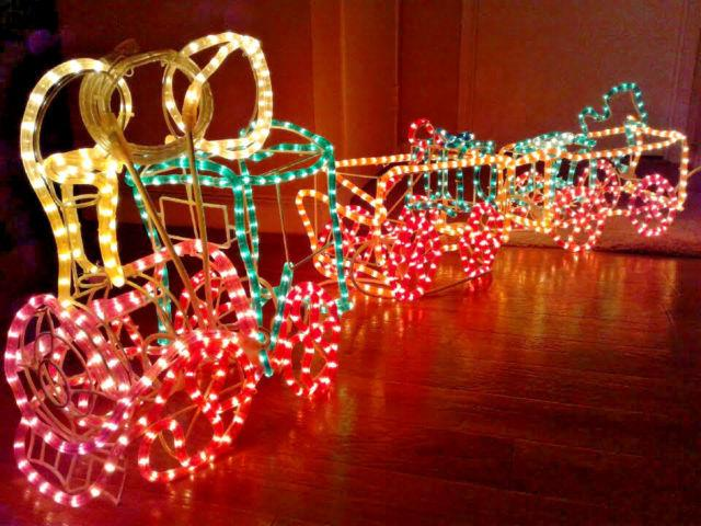 3 Dimensional Christmas Rope Light Train Xmas Decoration Light Sculpture Rare