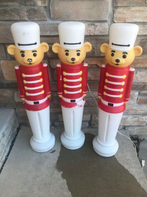 3 Soldier Bear Teddy Bear Blow Mold Union! Lighted Christmas Decoration 32