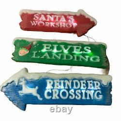 3 Signs Blow Mold Christmas Santa's Workshop, Elves Landing & Reindeer Crossing