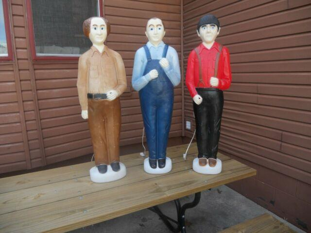 3 Stooges Larry Curly & Moe Union Blowmold Signed Don Featherstone Rare 1999