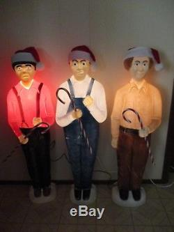 3 Stooges Lighted Blow Mold Moe Curly & Larry Union Products Don Featherstone