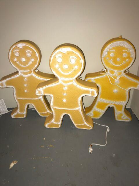3 Union Blow Mold Gingerbread Boy / Girl Lighted Christmas Outdoor 24