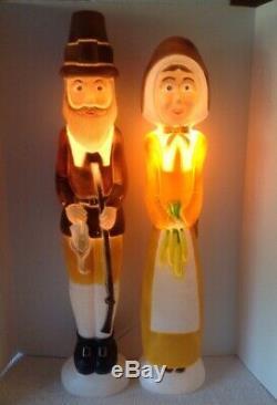 3 Union Don Featherstone Light Up Blow Mold THANKSGIVING PILGRIMS TURKEY Decor