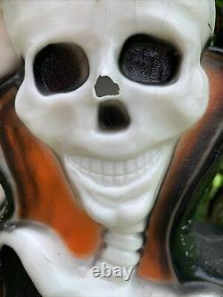 3 Vintage Halloween Blow Molds Frankenstein, Witch, Skeleton, Lighted Yard Decor